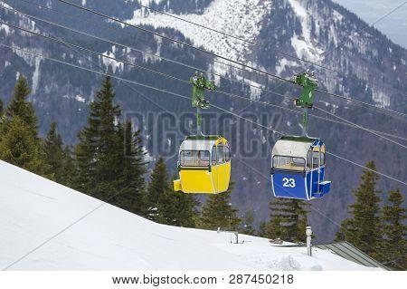 Gondola In The Bavarian Alps, Germany, Wi