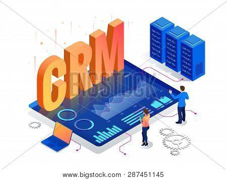 Isometric Crm Web Banner. Customer Relationship Management Concept. Business Internet Technology Vec