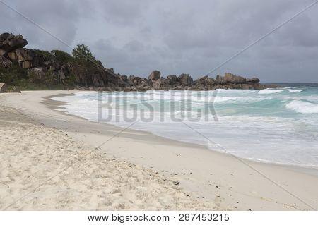 Panorama Of Coastline At La Dique Island, Seychelles