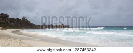 Panorama Of Beach At La Dique Island, Seychelles