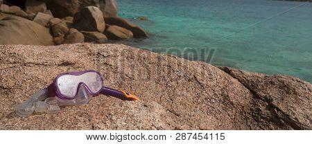 Snorkeling Equipment At Pierre Island, Seychelles, Summertime