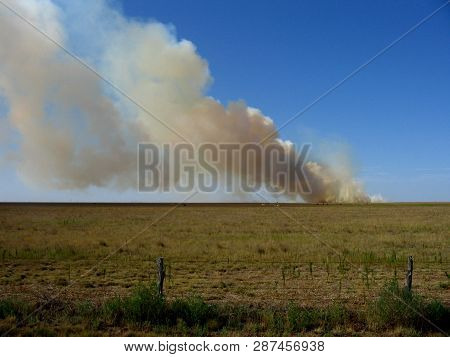 Texas Panhandle Out Of Control Wildfire Burning On Ranch With Cattle