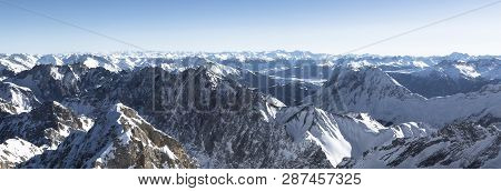 Panorama Alps View At Zugspitze, Bavaria, Germany, Wintertime