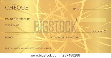 Check, Cheque (Chequebook template). Guilloche pattern with abstract line  watermark, border. Gold background for banknote, money design,currency, bank note, Voucher, Gift certificate, Money coupon poster