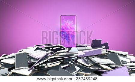 Concept Of Flagman Model Modern Full Screen Smart Phones Random Color 3d Render On Color