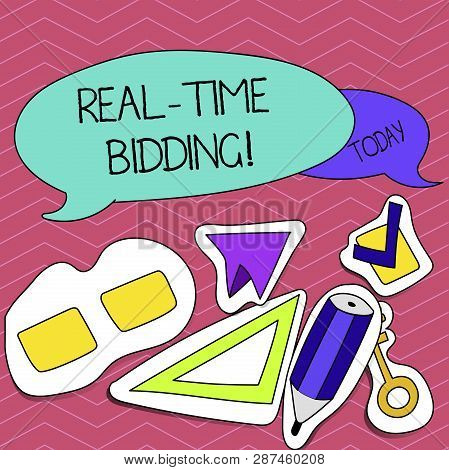 Writing Note Showing Real Time Bidding. Business Photo Showcasing Buy And Sell Advertising Inventory