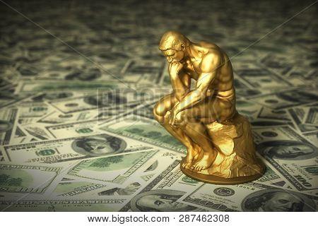 Gold Sculpture Thinker Over Green American Dollars. 3d Illustration.
