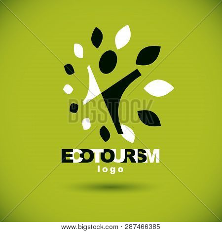 Vector Illustration Of Excited Abstract Person With Raised Hands Up. Ecotourism Conceptual Logo. Env