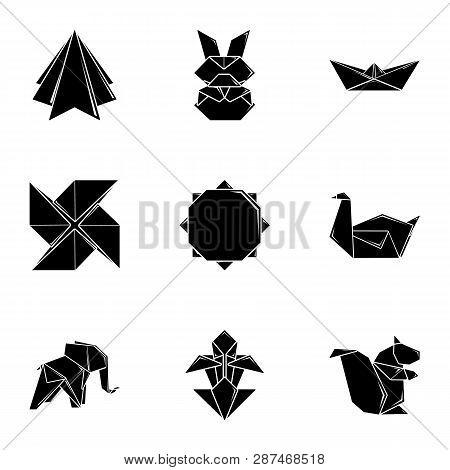 Paper Toylike Icons Set. Simple Set Of 9 Paper Toylike Icons For Web Isolated On White Background