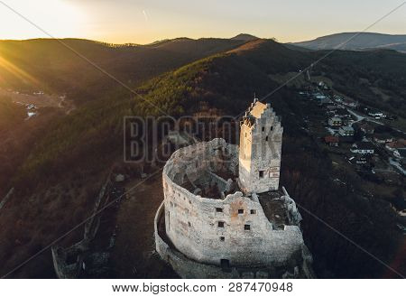 Image Of Castle Podhradie In Europe (topolcany District) On The Hill With Sunset On Background.  Anc