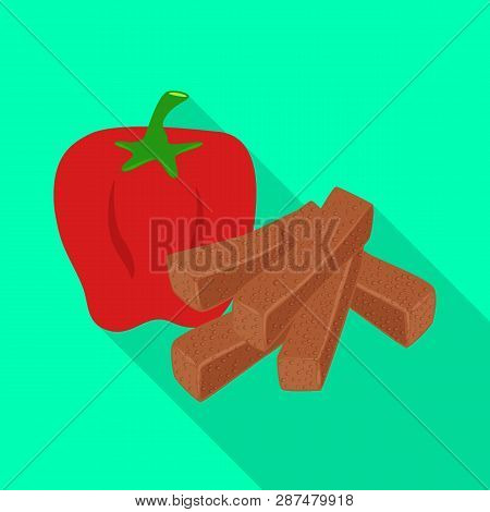Vector Illustration Of Croutons  And Bread Symbol. Set Of Croutons  And Red Stock Vector Illustratio