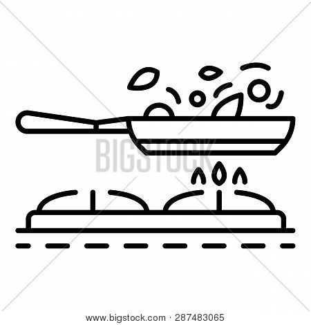 Cooking On Griddle Pan Icon. Outline Cooking On Griddle Pan Icon For Web Design Isolated On White Ba