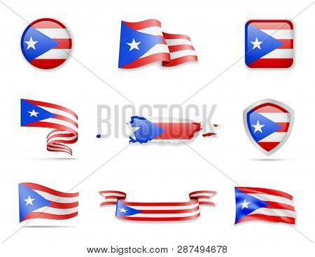 Puerto Rico Flags Collection. Vector Illustration Set Flags And Outline Of The Country.
