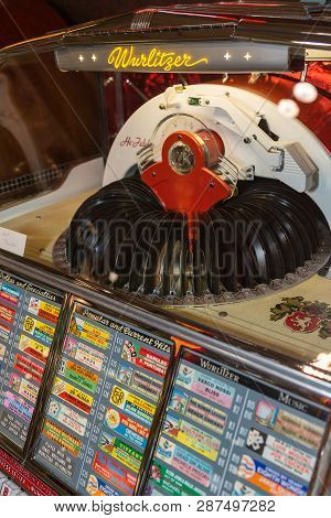 Parma, Italy - March 2018: Retro Jukebox: Music And Dance In Bars In The 1950s.
