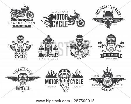Motorcycle Labels. Biker Badges With Speed Symbols Engine Motor Race Chopper Skull And Fire Vector P