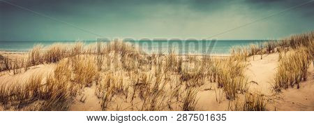 Sandy beach with dunes and sea in the background. Vintage look. Nature, wild coastline.