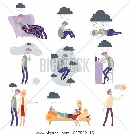 Psychologist Characters. Depressed People Unhappy Alone And Frustrated Doctor Therapist Vector Illus