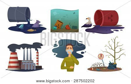 Nature Pollution. Environment Exhaust Car Contamination Waste Air Toxic Vector Concept Illustrations