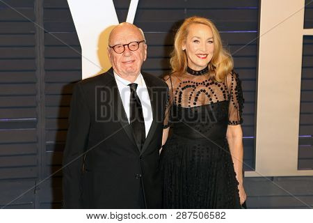 BEVERLY HILLS - FEB 24: Rupert Murdoch, Jerry Hall at the 2019 Vanity Fair Oscar Party at The Wallis Annenberg Center for the Performing Arts on February 24, 2019 in Beverly Hills, CA