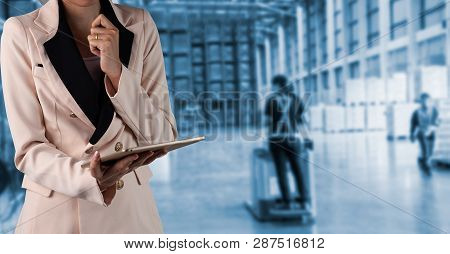 Businesswoman Manager Using Tablet Check And Control For Workers With Modern Trade Warehouse Logisti