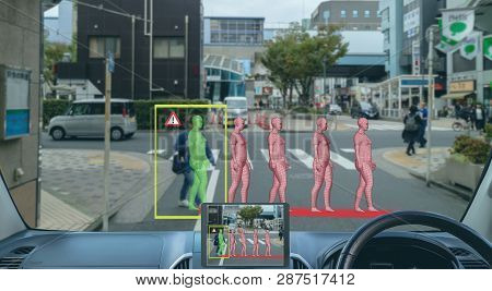 Smart Artificial Intelligence In Autonomous Car With Self Driving Technology Concept, The Car Use Pr