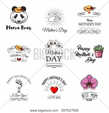 Mothers Day Labels Set. Flower, Swirls, Womans Silhouette, Bow, Wide-brimmed Hat, Tulips Bouquet, Sw