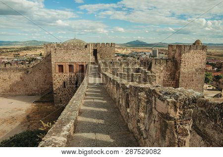 Pathway On Top Of Stone Wall At The Castle Of Trujillo