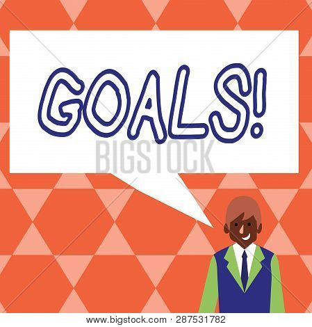 Handwriting text Goals. Concept meaning Desired Achievements Targets What you want to accomplish in the future. poster