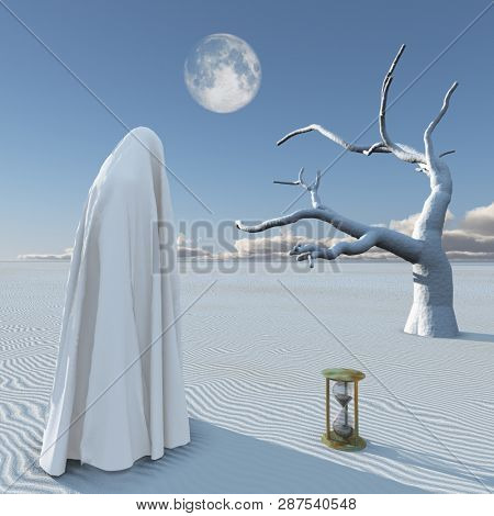 Figure in white hijab stands in surreal white desert. Hourglass. 3D rendering