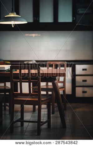 Abstract Scene Of Old Dinning Room In Evening Time With Lonely Emotion