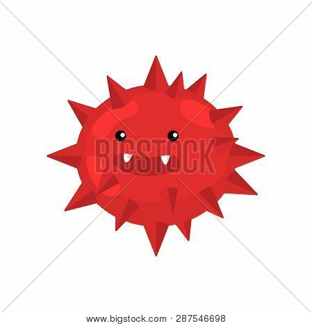 Red Spiky Round Bacterium Or Virus Closeup Isolated On White Background