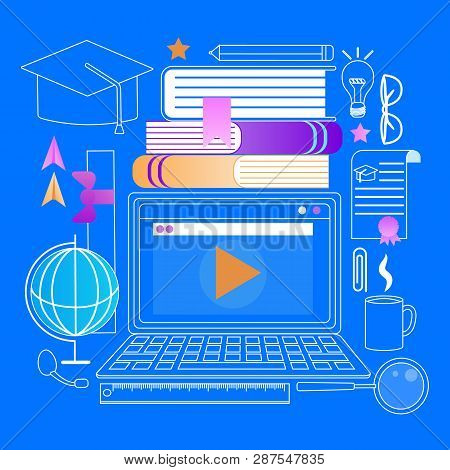 Laptop With Webinar Window. Square Academic Cap and Different Outline Educational Stuff Icons Around of Computer. Student. E-learning, Online Education. Flat Vector Illustration on Blue Background. poster