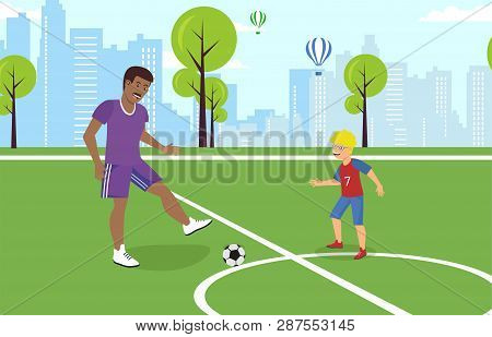 Vector Flat Dad Playing With Son On Playground Football. Teaches Coached African American In Blue Un