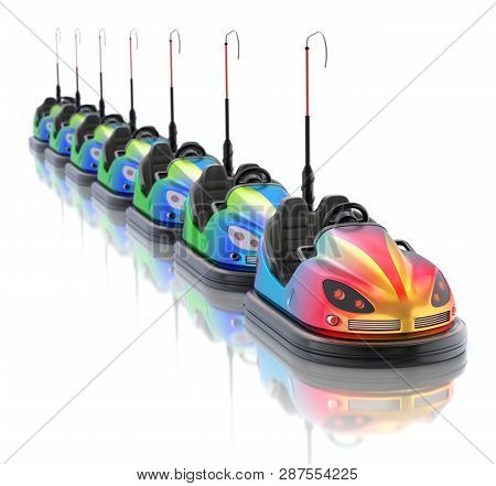 Leadership Concept With Electric Bumper Cars Over White Reflective Background - 3d Illustration