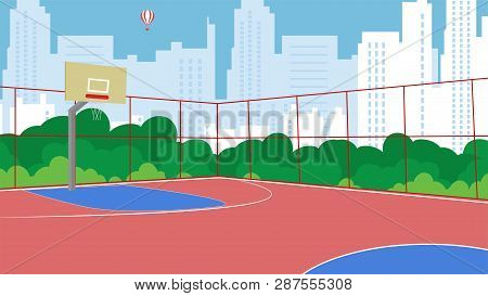Vector Flat Basketball Court New Fenced In Park. Trees Urban Playground For Children. Workouts Activ