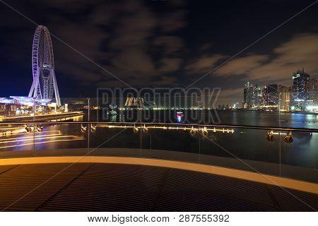 Dubai Skyline View At Bluewaters Island To Dubai Marina And Jumeira Beach Residence At Night, Dubai,