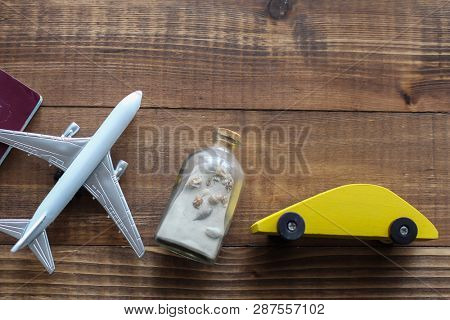 Travel wooden background concept