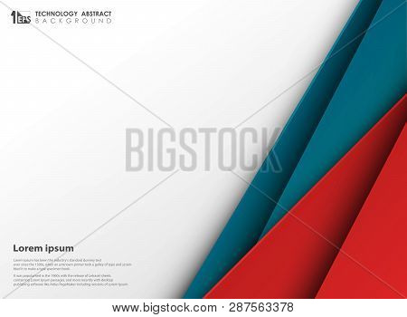 Abstract Technology Blue And Red Colors Paper Cut With White Copy Space. You Can Use For Presentatio
