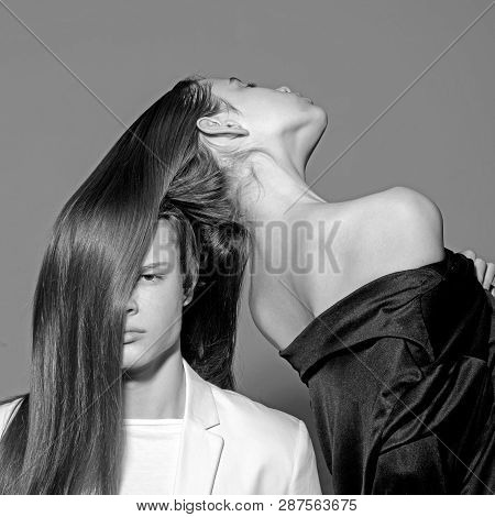 Man And Woman. Perfect Hair. Hair Style And Skincare. Beauty And Fashion. Fashion Couple In Love. Fr
