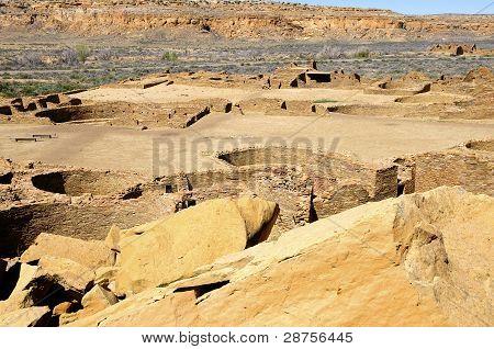 Ruins of Pueblo Bonito at Chaco Canyon poster