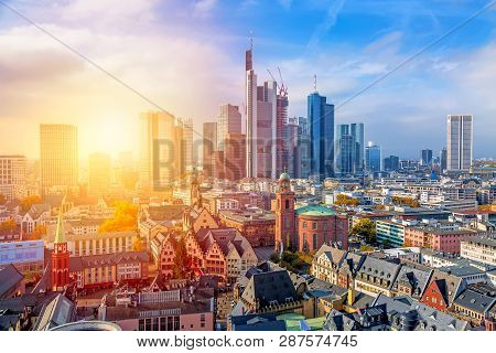 Frankfurt Am Main Financial Business District At Sunset. Panoramic Aerial View Cityscape Skyline Wit