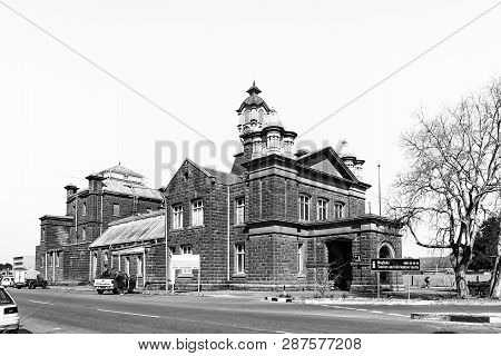 Kroonstad. South Africa, July 30, 2018: A Street Scene, With The Historic Town Hall, In Kroonstad, A