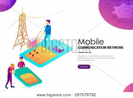 Mobile Communication Network Landing Web Page. Phone Networking Smartphone Plastic Card With Microch