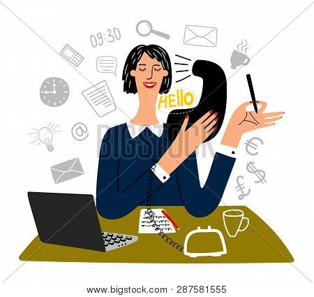 Secretary Working. Happy Working Office Female Secretary Business Creative Tasks, Finance Officer Or