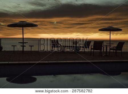 Sunrise Morning, Swimming Pool With Sunrise, Sunrise On The Beach
