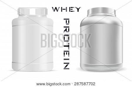 Big Sports Nutrition Can. Protein Bottle Mockup With Lid. White Jar Isolated On Background.power Foo