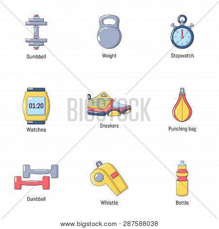 Workout Room Icons Set. Flat Set Of 9 Workout Room Icons For Web Isolated On White Background