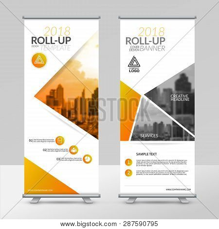 Business Roll Up Design Template, X-stand, Vertical Flag-banner Design Layout, Standee Display Promo