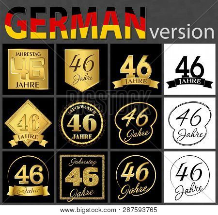 Set Of Number Forty-six Years (46 Years) Celebration Design. Anniversary Golden Number Template Elem