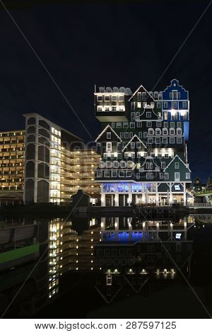 Zaandam, 20 January 2019 - Sunset On The Inntel Hotel Building Made Of All Type Of Dutch Architectur